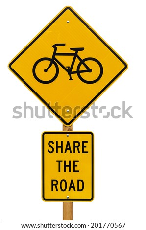 share the road with bicycles road sign isolated on white background - stock photo