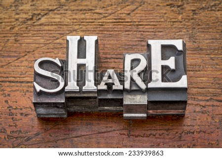 share word in mixed vintage metal type printing blocks over grunge wood - stock photo