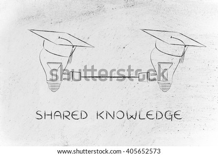 shared knowledge: lightbulbs with graduation cap connected with double plug - stock photo