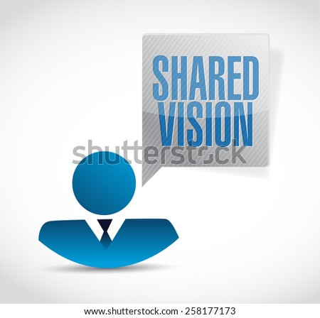 shared vision people sign illustration design over a white background - stock photo