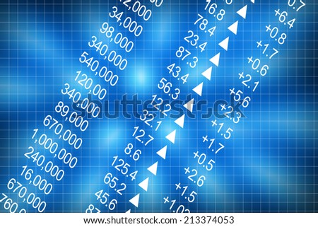 Shares price go up on computer display - stock photo