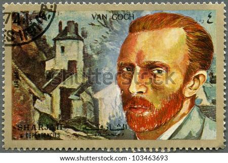SHARJAH & DEPENDENCIES - CIRCA 1972: A stamp printed in Shiarjah & Dependencies shows Vincent Willem van Gogh (1853-1890), circa 1972 - stock photo