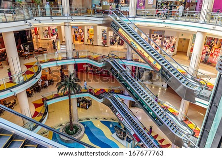 SHARJAH, UAE - OCTOBER 29, 2013: Central Souq Mega Mall opened on December 2001 and becoming one of leading retail and leisure destinations in UAE. It is one of largest malls in UAE at 800,000 sq. ft. - stock photo