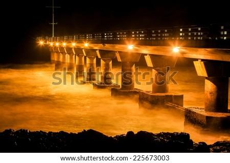 Shark Rock Pier in Port Elizabeth South Africa at night - stock photo