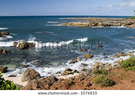 Shark's Cove, one of the many scenic stops along Oahu's famous North Shore. - stock photo
