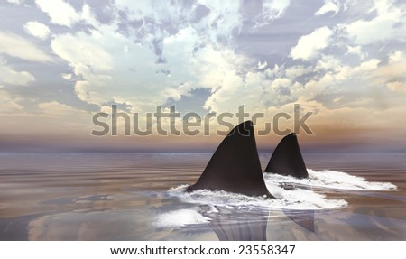 Shark swimming in dark calm water making waves early morning - stock photo