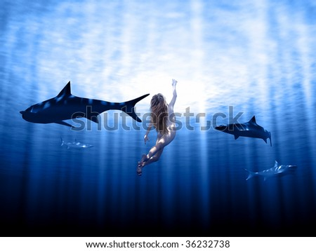 Sharks and woman swimming  in rays with sun - stock photo