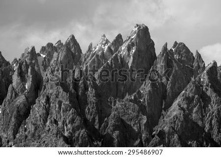Sharp peaks of the 'Cadini di Misurina' mountains in National Park 'Tre Cime di Lavaredo' Dolomites, South Tyrol, Italy - stock photo