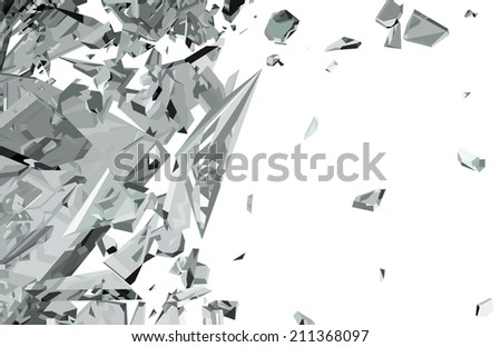 Sharp Pieces of shattered glass isolated on white. Large resolution - stock photo