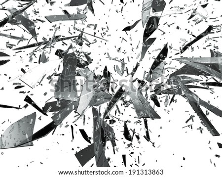 Sharp pieces of smashed glass isolated on white - stock photo