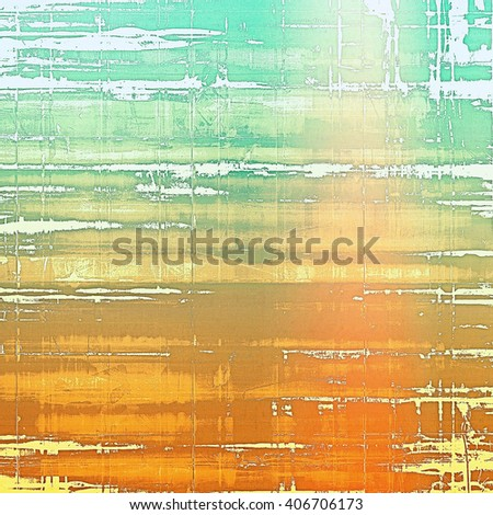 Sharp textured background, aged vintage backdrop with grungy style elements and different color patterns: yellow (beige); brown; red (orange); green; white; cyan - stock photo