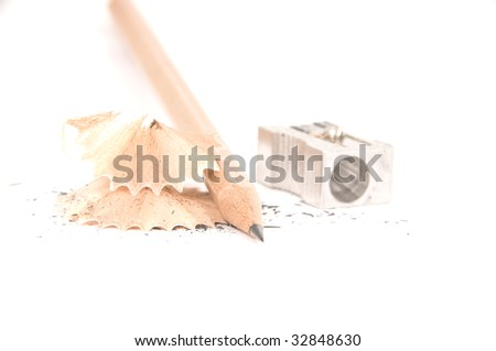 Sharpened pencil and wood shavings -similar image- - stock photo