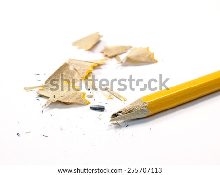 Sharpened Pencil with a Broken Tip on a white background - stock photo