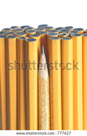 Sharpest Pencil in the Bunch:  leadership, intelligence, & individuality to teamwork and unity. - stock photo
