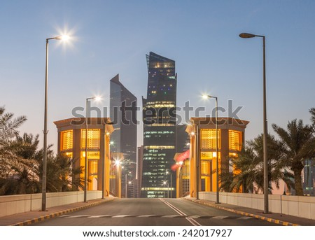 Sharq district in Kuwait City illuminated at dusk. Middle East  - stock photo