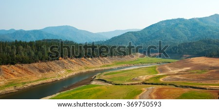 Shasta Lake suffering from one of California's severest droughts. - stock photo