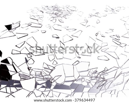 Shattered and broken glass on white. Large resolution - stock photo