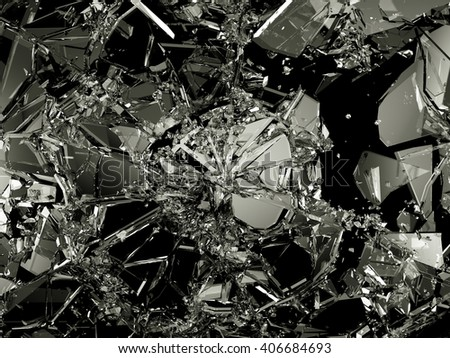 Shattered and damaged pieces of glass isolated on black. Large resolution - stock photo