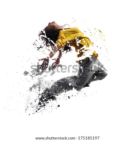 Shattered dancer.image of female dancer jumping. Shattered and dissolved effect added in post production. - stock photo