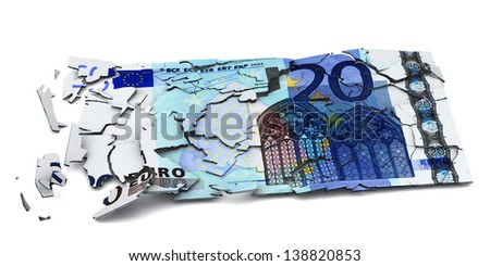 Shattered euro banknote, 3d image - stock photo