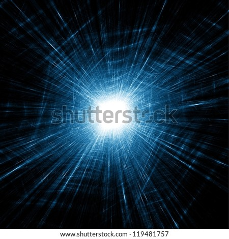 Shattered glass. Bright light source. Abstract illustration. - stock photo