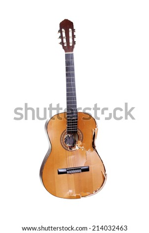 shattered guitar - stock photo