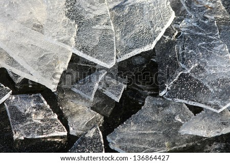 shattered ice - stock photo