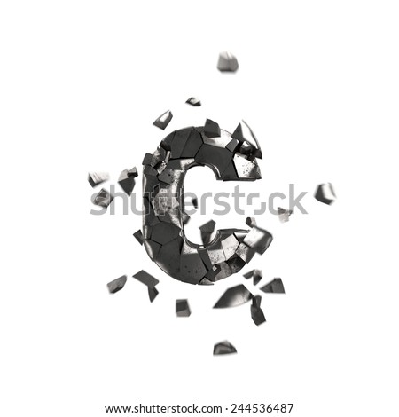 shattered iron letter C - stock photo