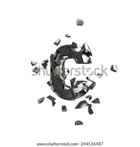 shattered iron letter C - stock photo