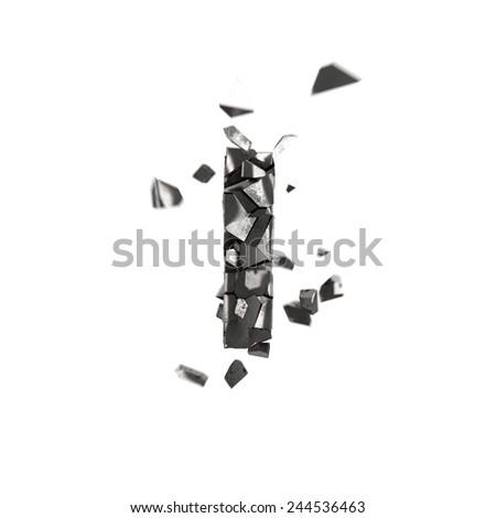 shattered iron letter I - stock photo