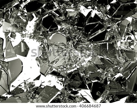 Shattered or broken glass Pieces on white. high resolution - stock photo