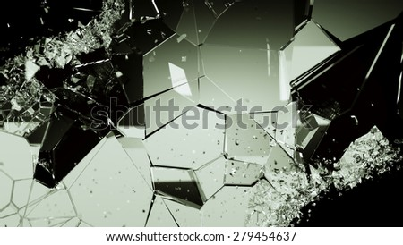 Shattered or cracked glass pieces on black. Large resolution - stock photo