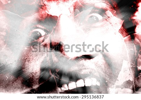 Shattered Terror,Horror Background For Halloween Concept And Movie Poster Project - stock photo