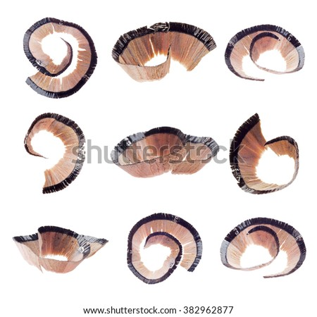 Shavings of cosmetic pencil collage - stock photo