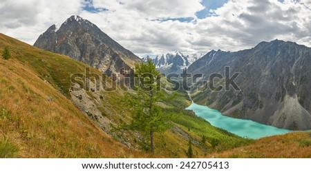Shavla lake, Russia, Siberia, Altai mountains, Chuya ridge. - stock photo