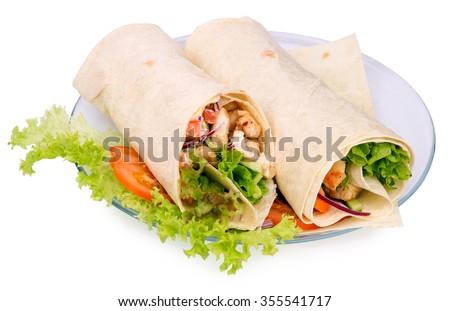 Shawarmas on lettuce on a white background - stock photo