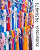 Shawls in all kind of colors on the market - stock photo