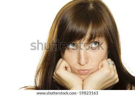 She expresses feelings of sadness and anger. Isolated on white background - stock photo