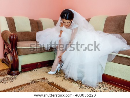 she is a bride today, gorgeous brunette bride - stock photo