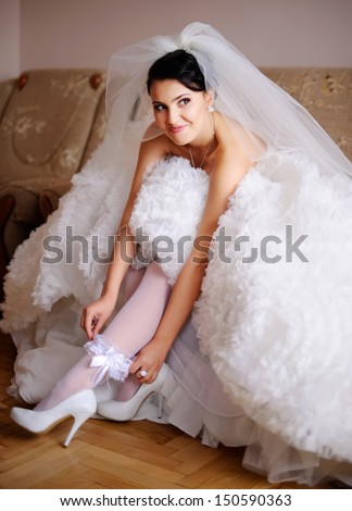 she is a bride today, starting of a wedding day - stock photo