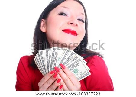 she loves money isolated background - stock photo