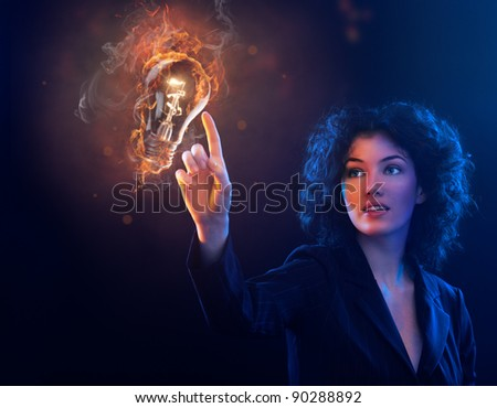 she makes a discovery - stock photo