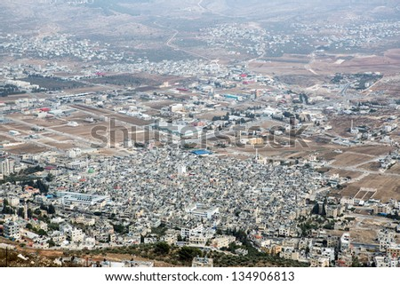 Shechem (Nablus). View overlooking from mount Gerezim, Israel - stock photo
