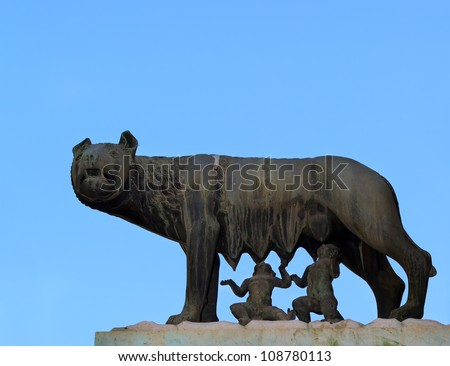 Shee-wolf breest feed Romulus and Remus. Rome. Italy. - stock photo