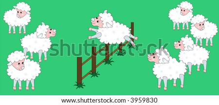 Sheep jumping fence, illustration. - stock photo