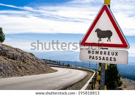 Sheep Road Sign, France, Mountain, ventoux - stock photo