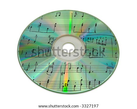 Sheet music on compact disk (reflection), isolated on white - stock photo