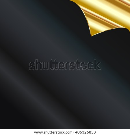 Sheet of black and golden paper with a curl - stock photo