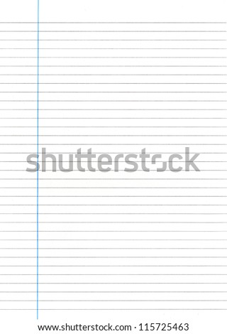 Sheet of Lined Paper. - stock photo