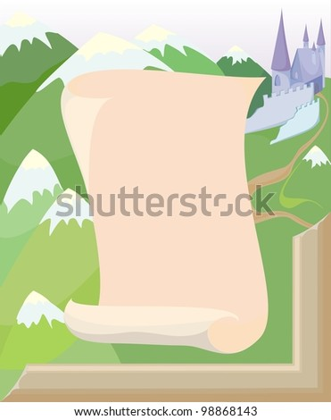 sheet of old paper on the background of mountains and castle in frame - stock photo